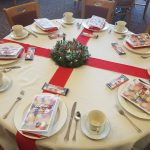 Table set up at the Clare of Assisi House Holiday Brunch. An annual fundraiser event.
